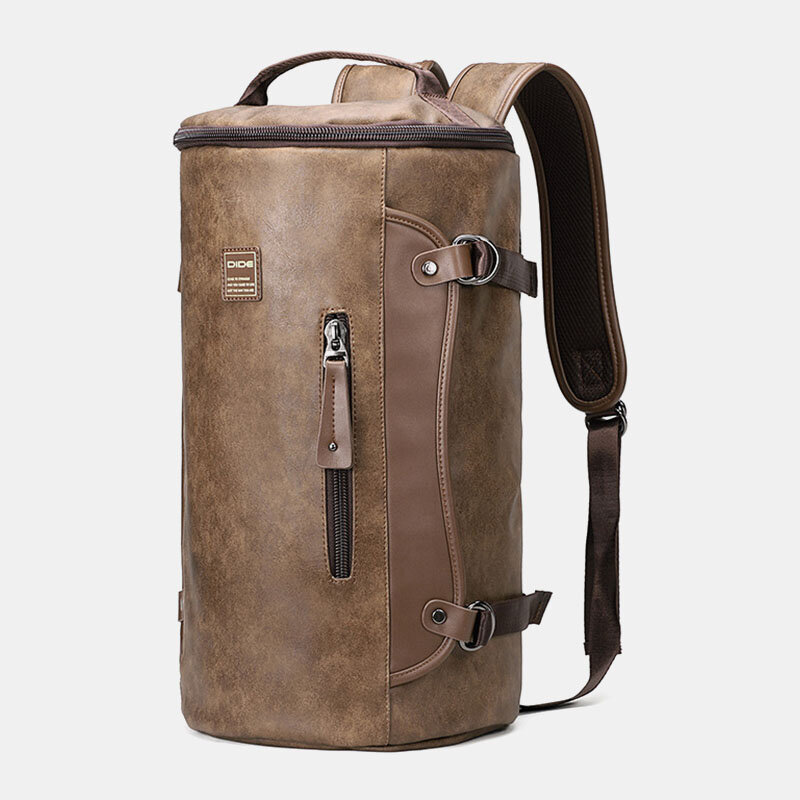 Men Large Capacity Leather Outdoor Travel Backpack Bucket Bag
