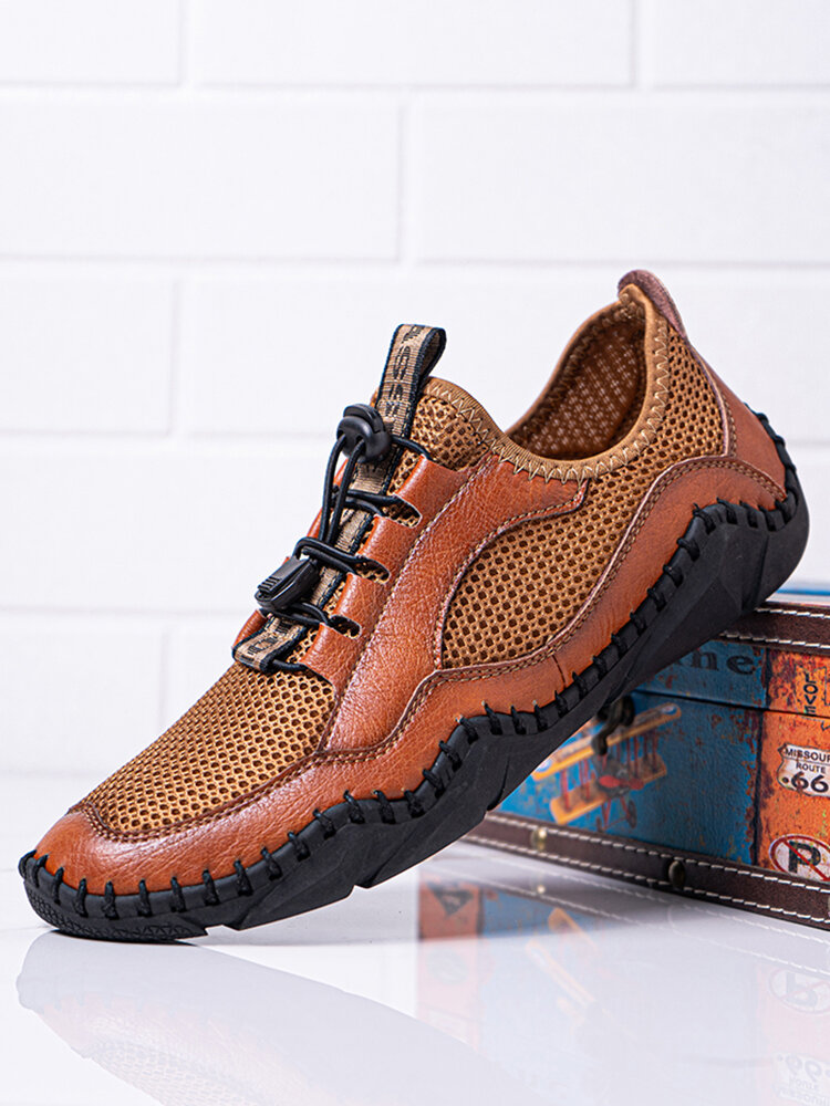 Men Hand Stitching Leather Splicing Mesh Fabric Breathable Soft Non Slip Casual Driving Shoes