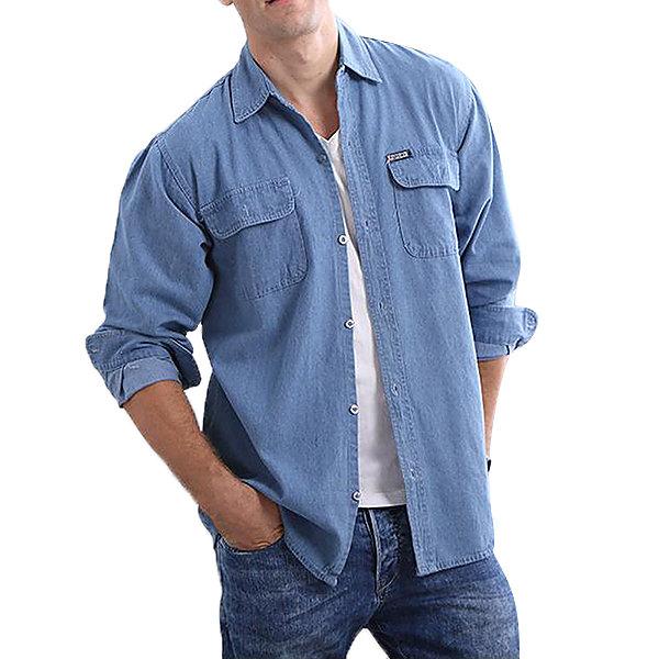Casual Solid Color Loose Water Washed Cotton Denim Shirts for Men Best Designer Online