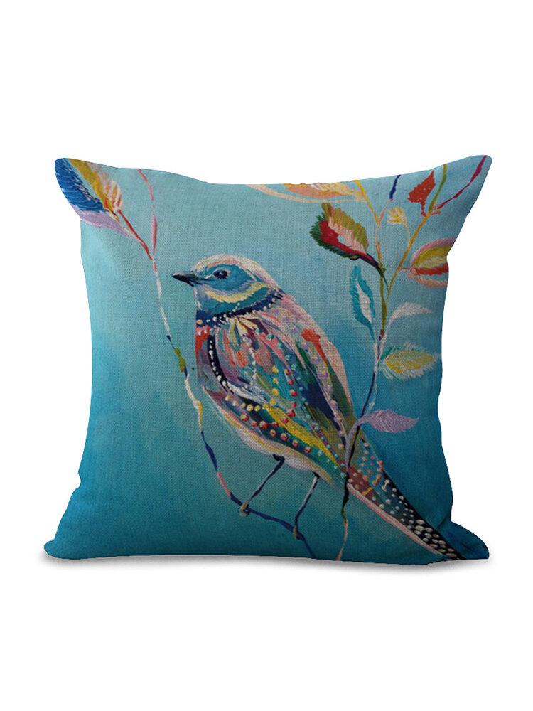 水彩鳥花柄リネンコットンクッションカバーソフトタッチホームソファオフィス枕カバー