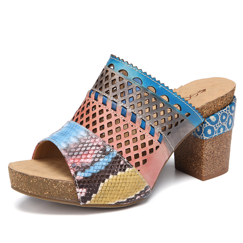 SOCOFY Leather Contrast Snakeskin Print Coutout Open Toe Chunky Block Heel Mules High Heel Sandals