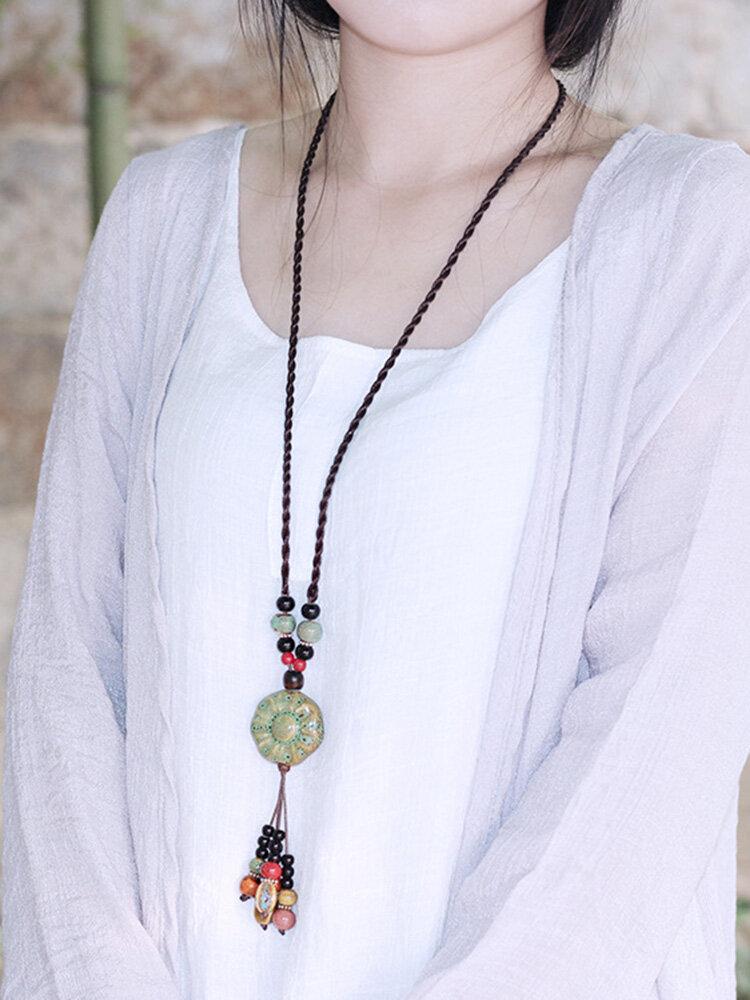 Vintage Ceramics Beads Tassels Flower Pendant Rope Long Necklace for Women Gift for Her