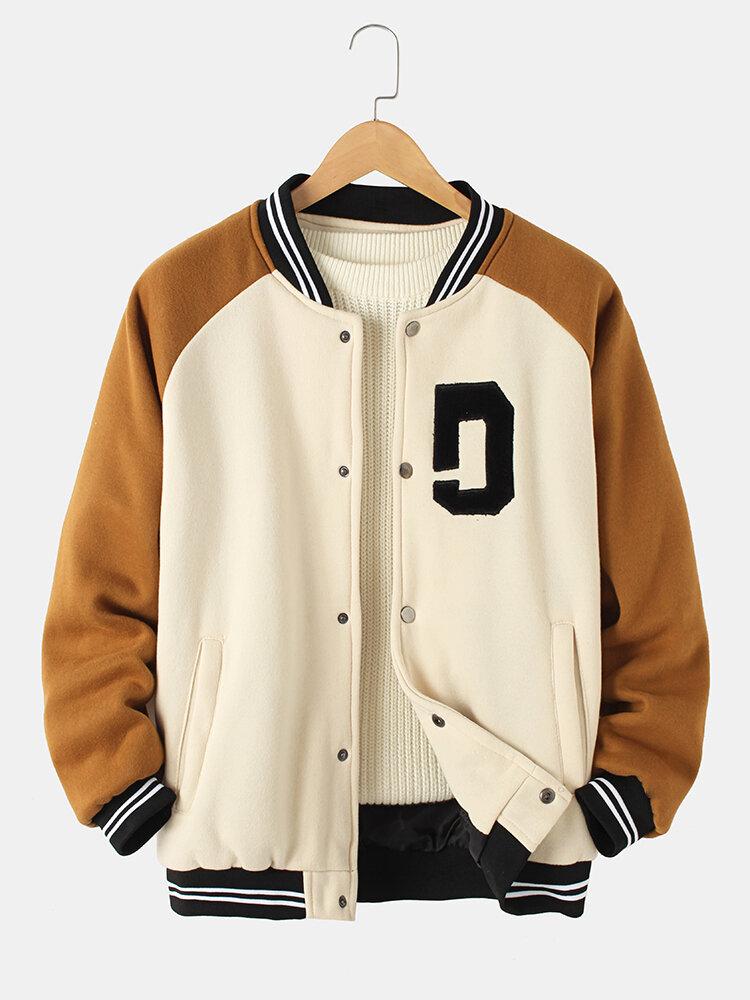 Mens Vintage Thick Raglan Sleeve Button Casual Loose Varsity Jacket