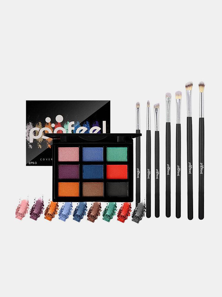 9-Farben-Lidschatten-Palette 7 Lidschatten-Pinsel-Make-up-Set Matter Perlglanz-Erdfarben-Lidschatten