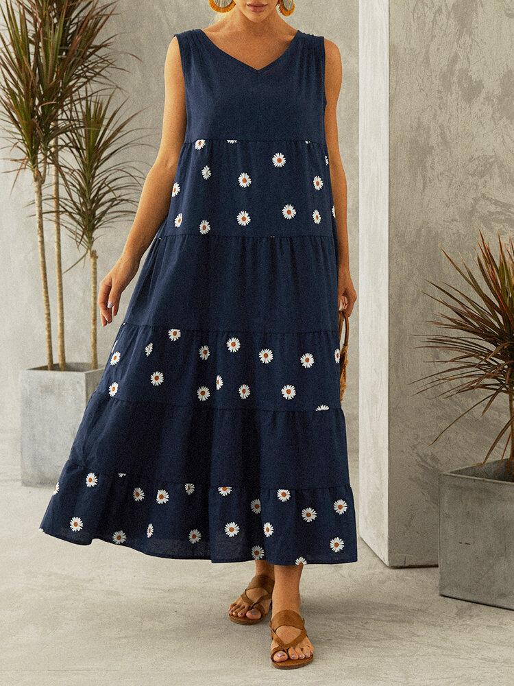 Daisy Print Sleeveless Plus Size Summer Dress