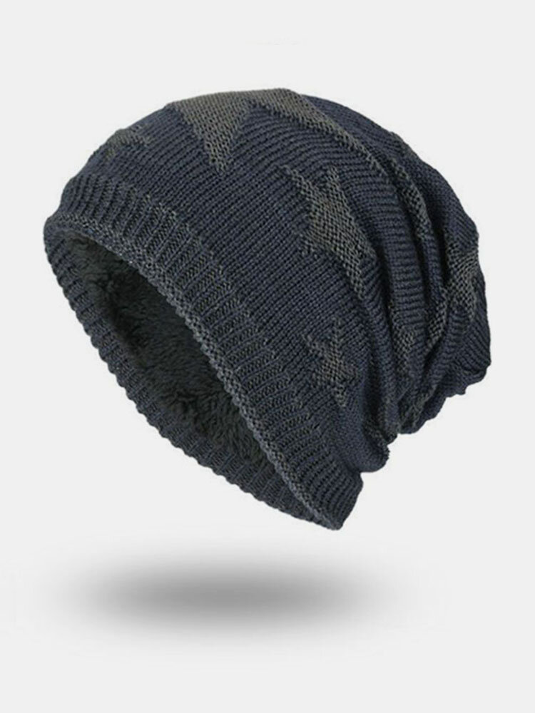 Mens Five Star Warm Knitted Beanie Cap Soft Comfortable Skullies Beanie Hat Ear Protection Caps