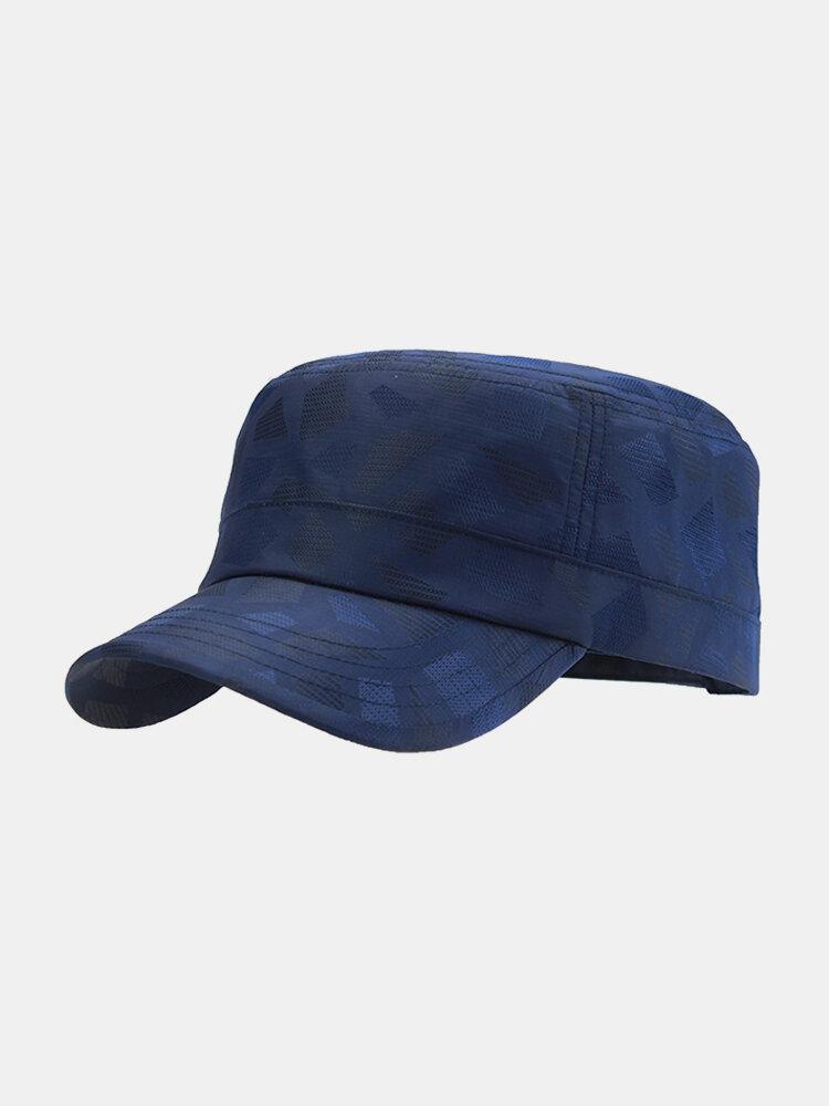 Mens Light Breathable Quick-dry Flat Peak Hat Outdoor Waterproof Anti-UV Plaid Sun Army Hat