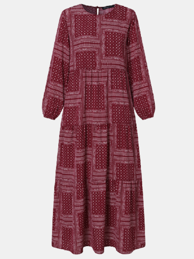 Ethnic Print O-neck Long Sleeve Plus Size Casual Dress for Women