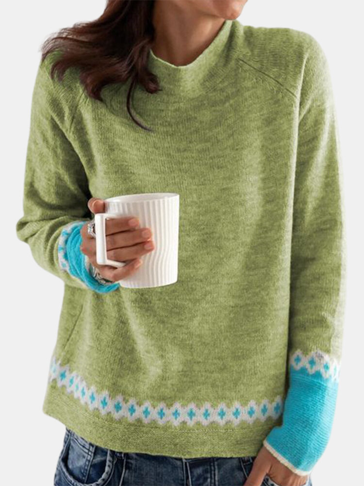 Print Contrast Color Long Sleeve Casual Sweater For Women