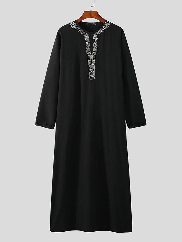 Plus Size Mens Embroidered Button Casual Long Sleeve Black Kaftan Robe