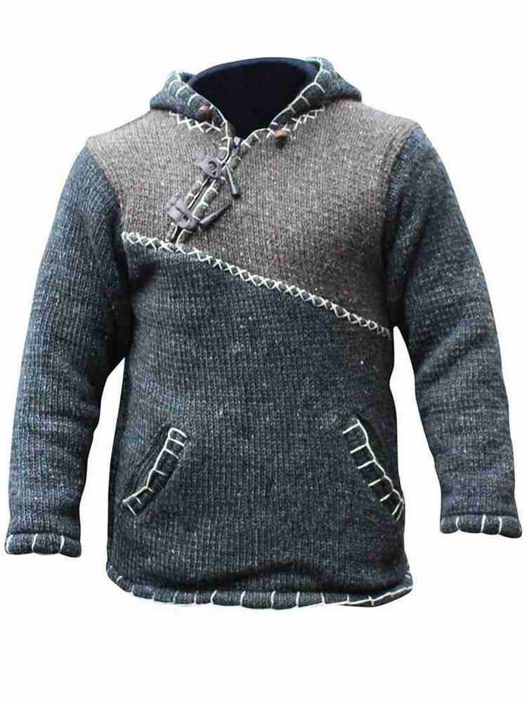 كنزة بغطاء للرأس منسوجة بأزرار متباينة للرجال اللون مع جيب كنغر