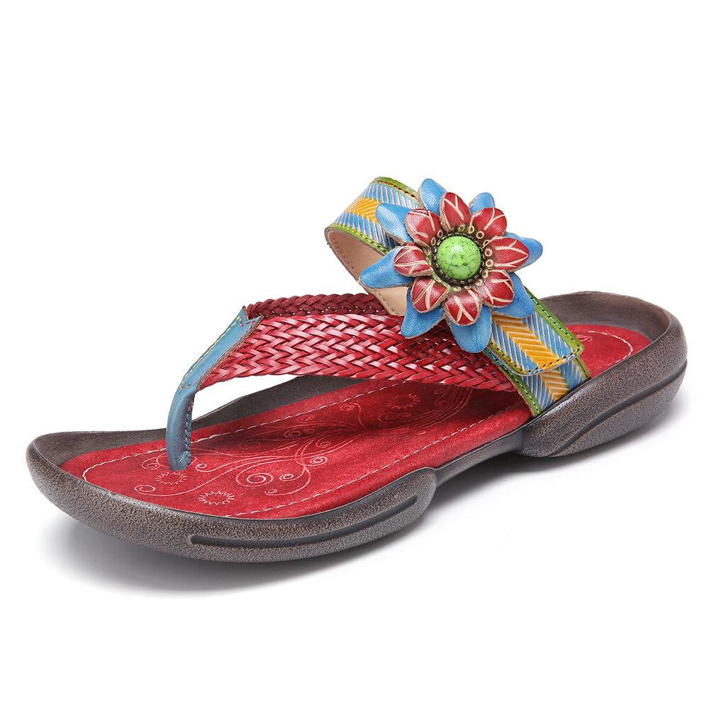 SOCOFY Bohemia Flower Derco Woven Flip Flops Lightweight Clip Toe Flat Sandals