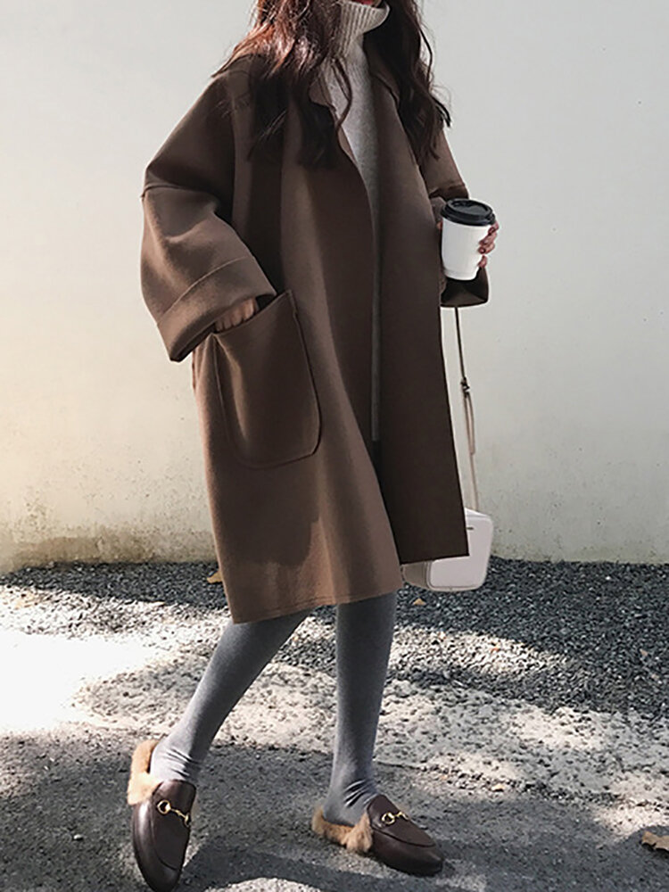 Solid Color Lapel Long Sleeve Casual Coat For Women