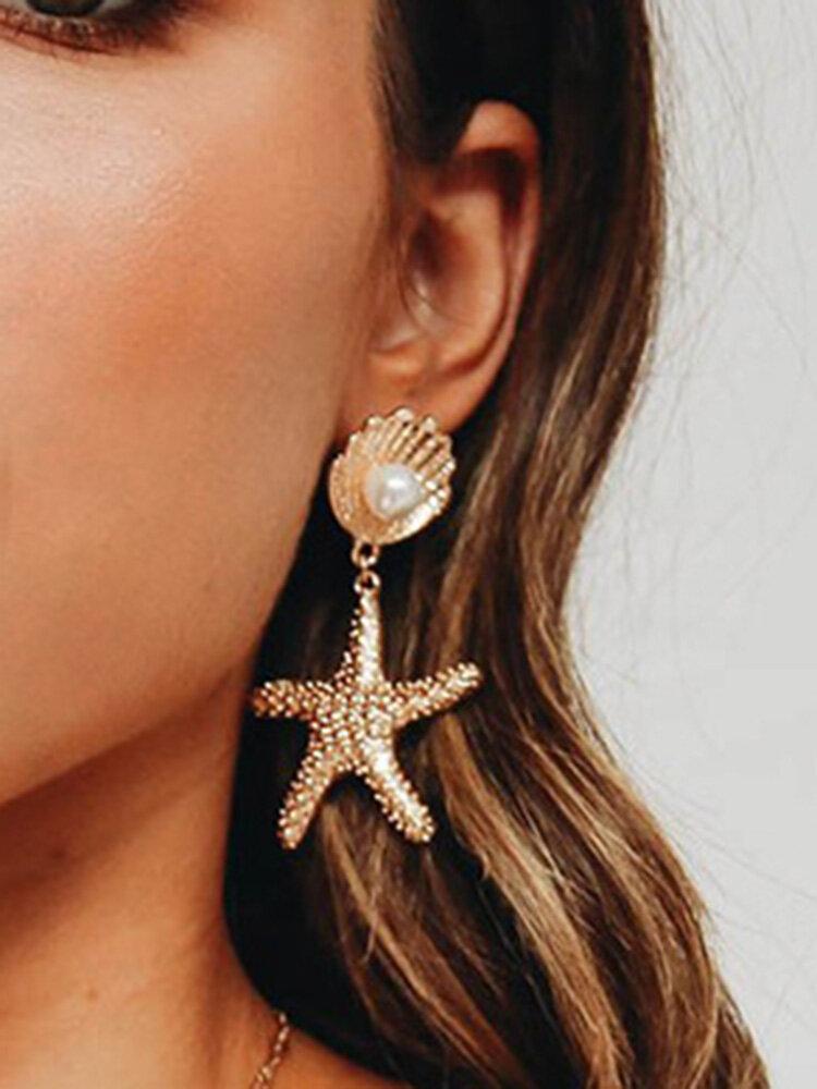 Bohemian Starfish Pearl Earrings Drop Geometric Alloy Earrings Vintage Jewelry for Women