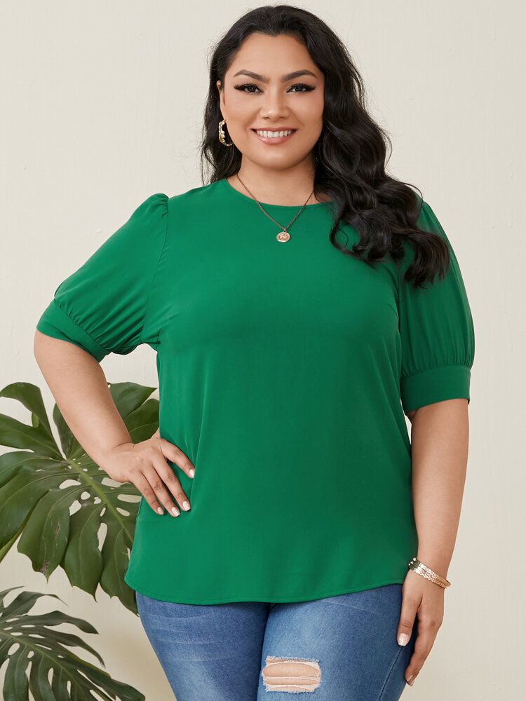 Solid Color O-neck Latern Sleeve Plus Size Casual T-Shirt