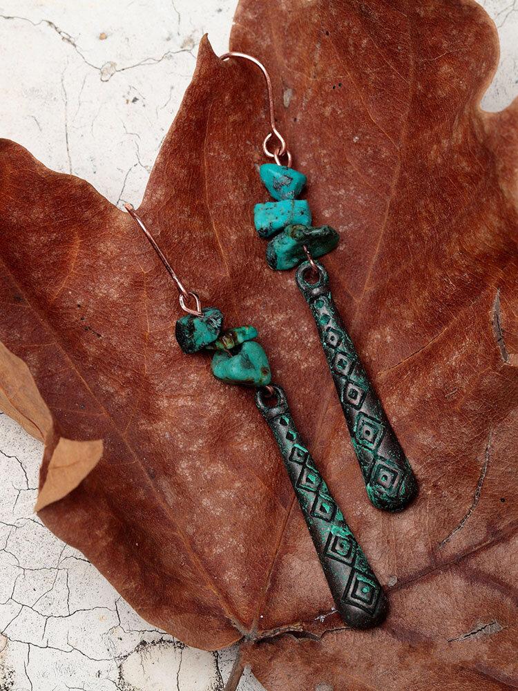 Ethnic Turquoise Women Long Earrings Vintage Geometric Pattern Engraved Piering Drop Dangle Earrings