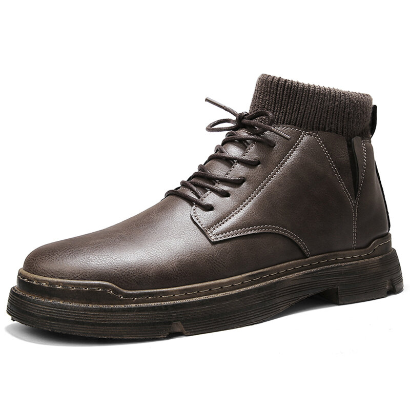 Men Round Toe Microfiber Leather Work Style Lace Up Ankle Boots