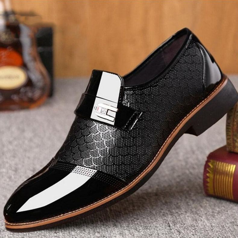 Large Size Men Stylish Cap Toe Slip On Formal Dress Shoes
