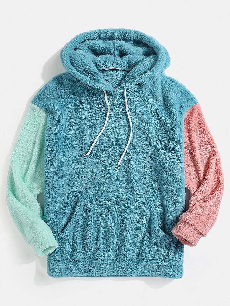 Mens Patchwork Fluffy Long Sleeve Pouch Pocket Teddy Hoodie