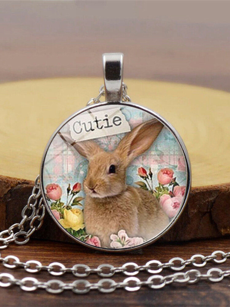 Easter Vintage Round Glass Printed Necklace Cute Bunny Pendant Necklace Jewelry Gift