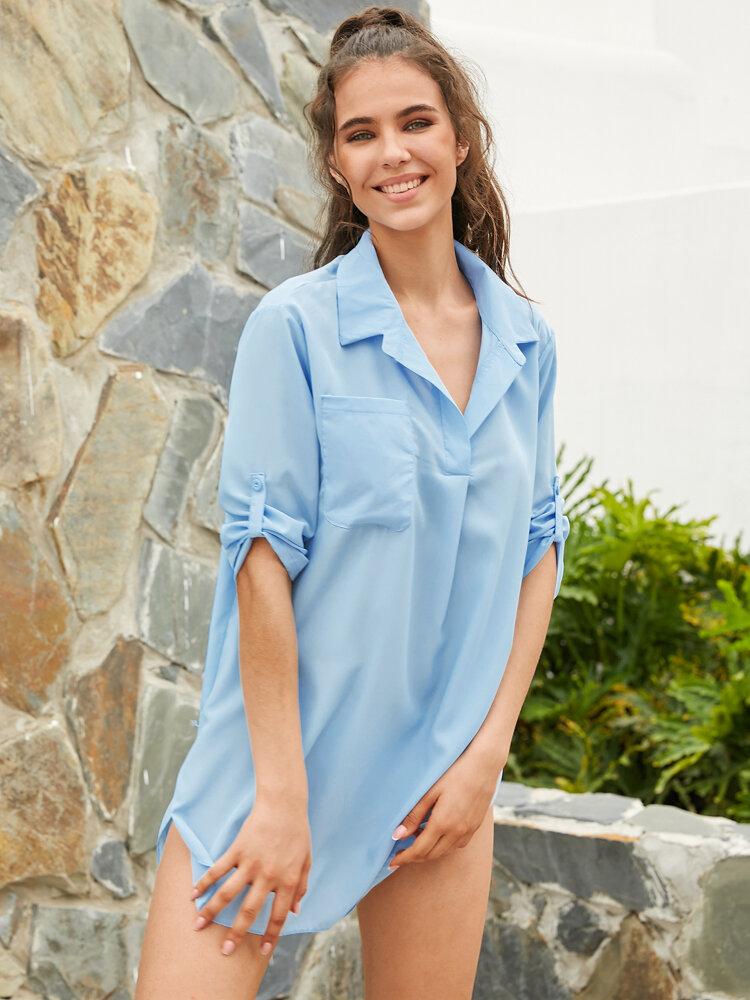 Vestito da spiaggia con orlo alto e basso con protezione solare ampia da donna