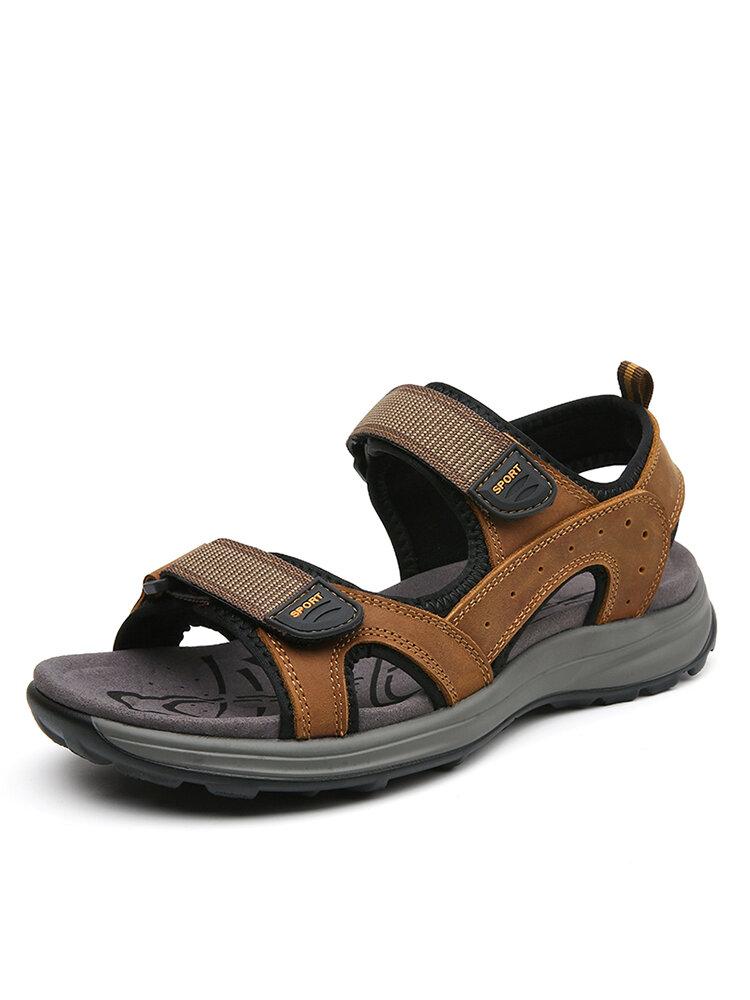 Men Comfy Cowhide Leather Hook Loop Opened Toe Sport Sandals