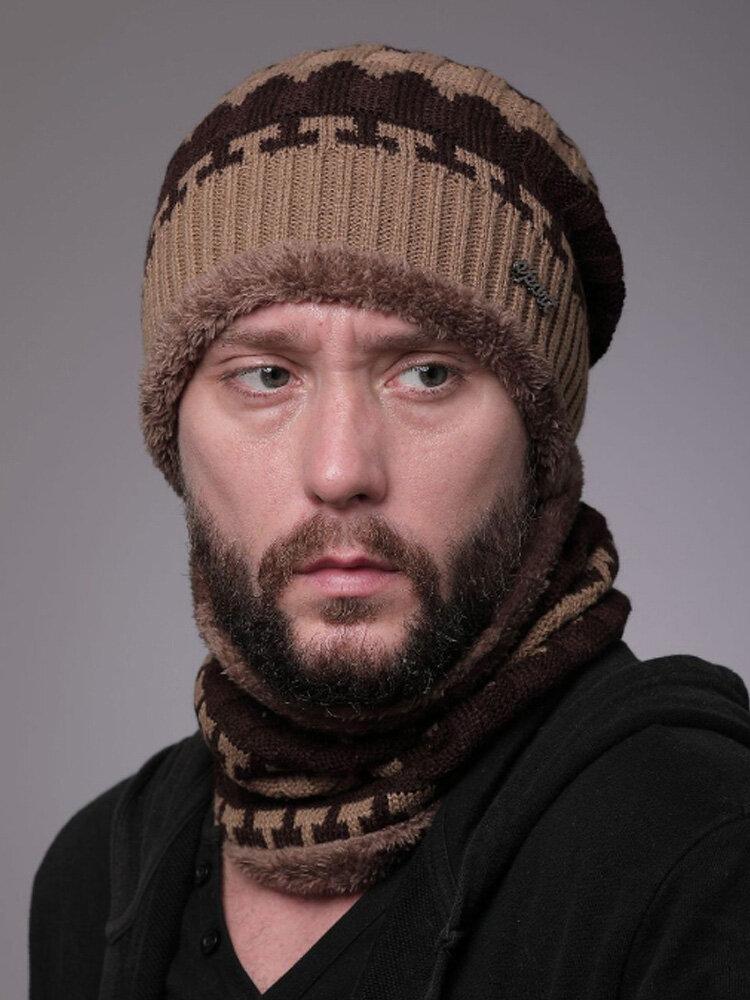 Uomo 2PCS Plus Velluto spesso inverno all'aperto Tenere in caldo Collo Protezione Copricapo Sciarpa Cappello lavorato a maglia Berretto