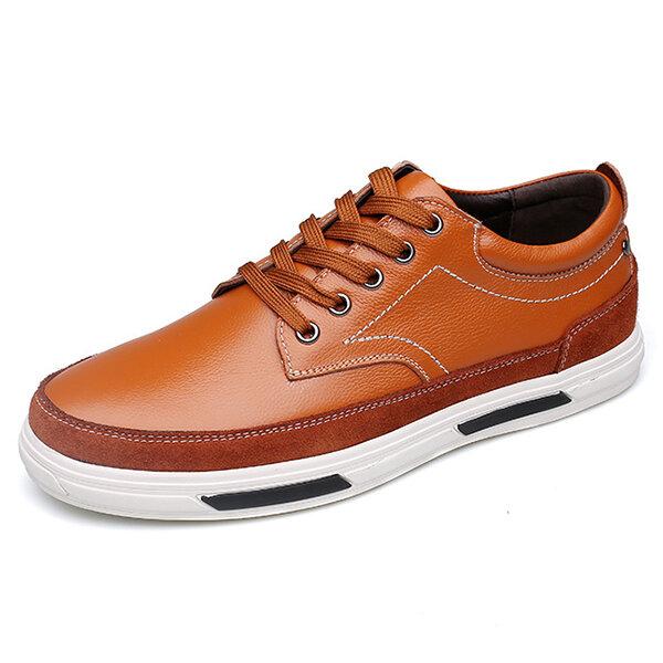 Men Soft Cow Leather Wear-resistant Lace Up Casual Shoes