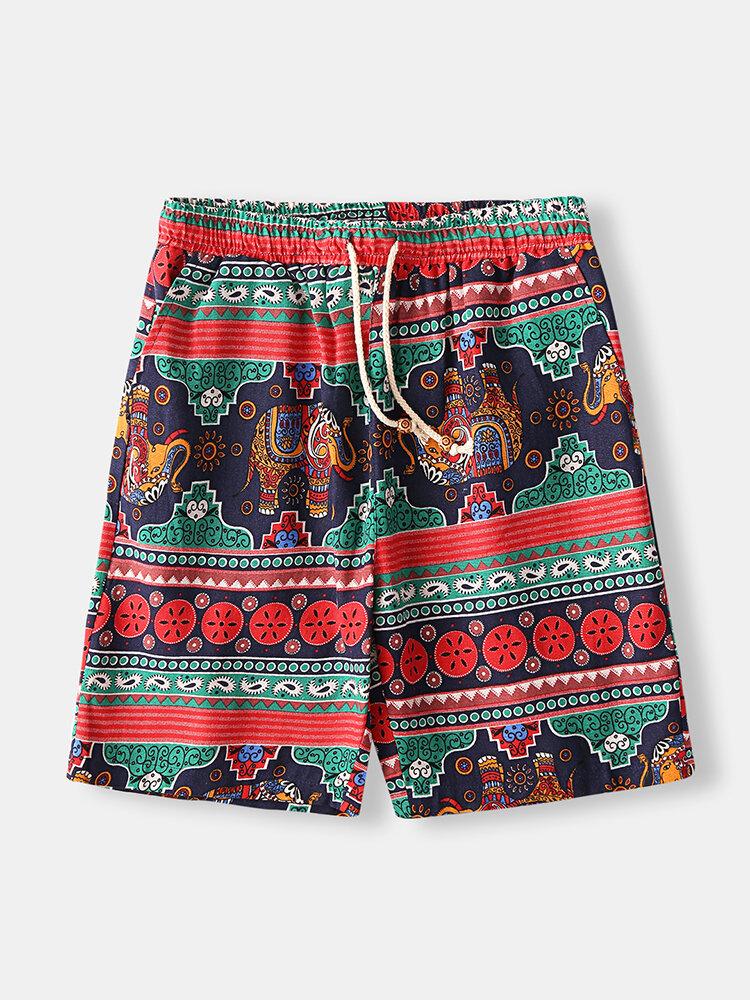 1 Ethnic Style Cotton Linen Shorts