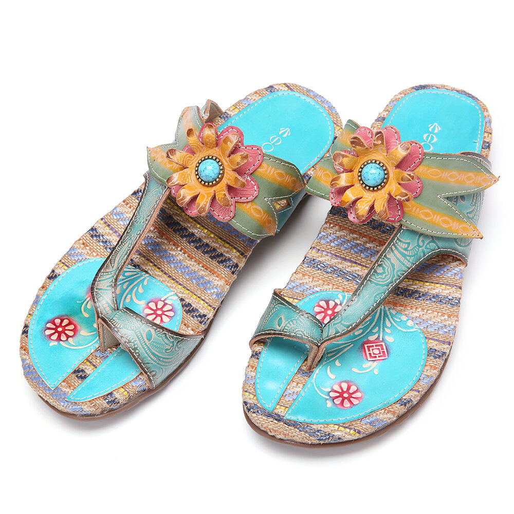 SOCOFY Bohemia Leather Flower Adjustable Strap Rope Splicing Stitching Thongs Flat Sandals