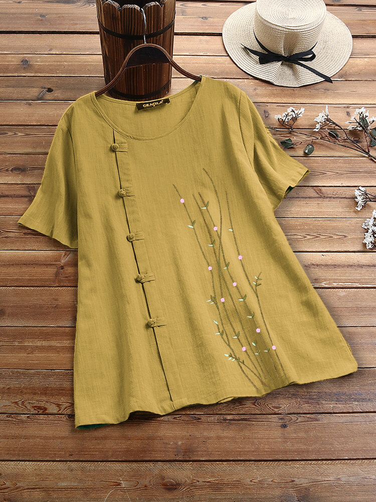 Embroidery Frog Button O-neck Short Sleeve T-shirt