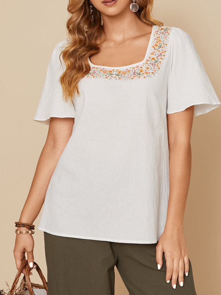 Embroidery Floral Square Collar Short Sleeve Casual Cotton T-shirt