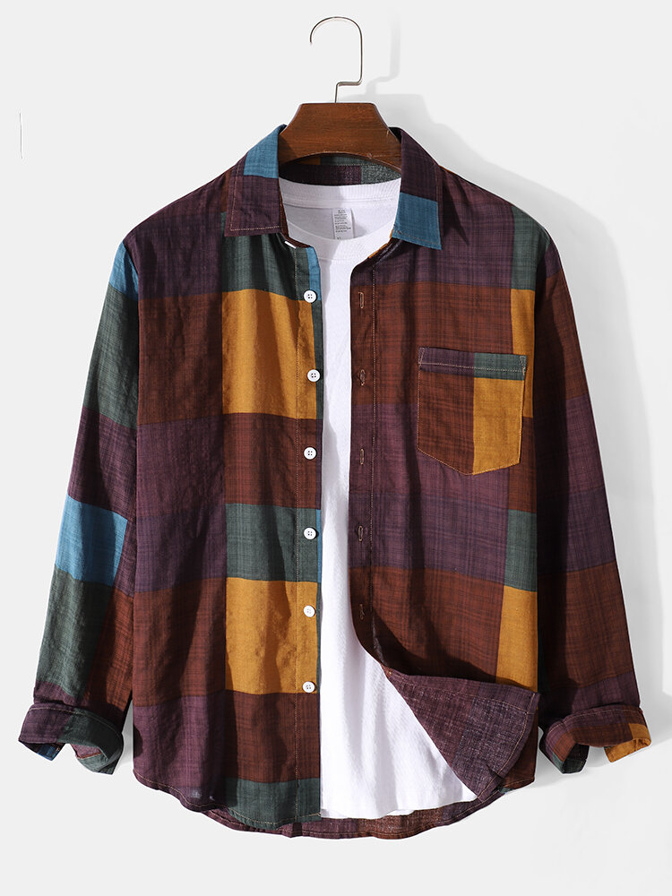 Mens Colorful Plaid Lapel 100% Cotton Casual Long Sleeve Shirts