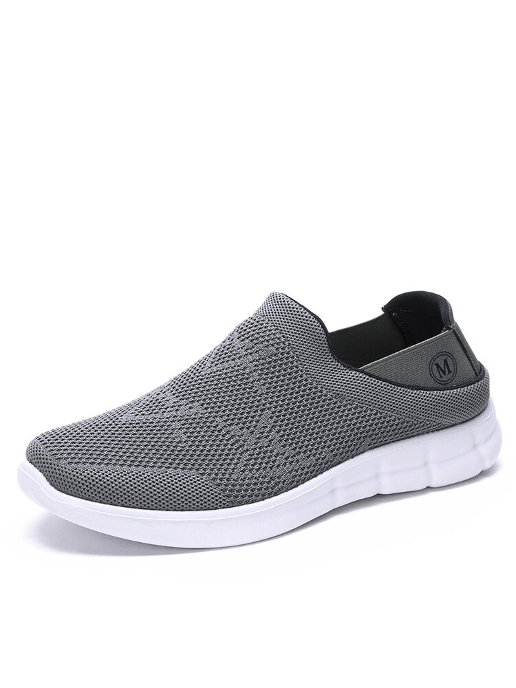 Men Knitted Fabric Slip On Light Weight Collapsible Heel Sport Walking Shoes
