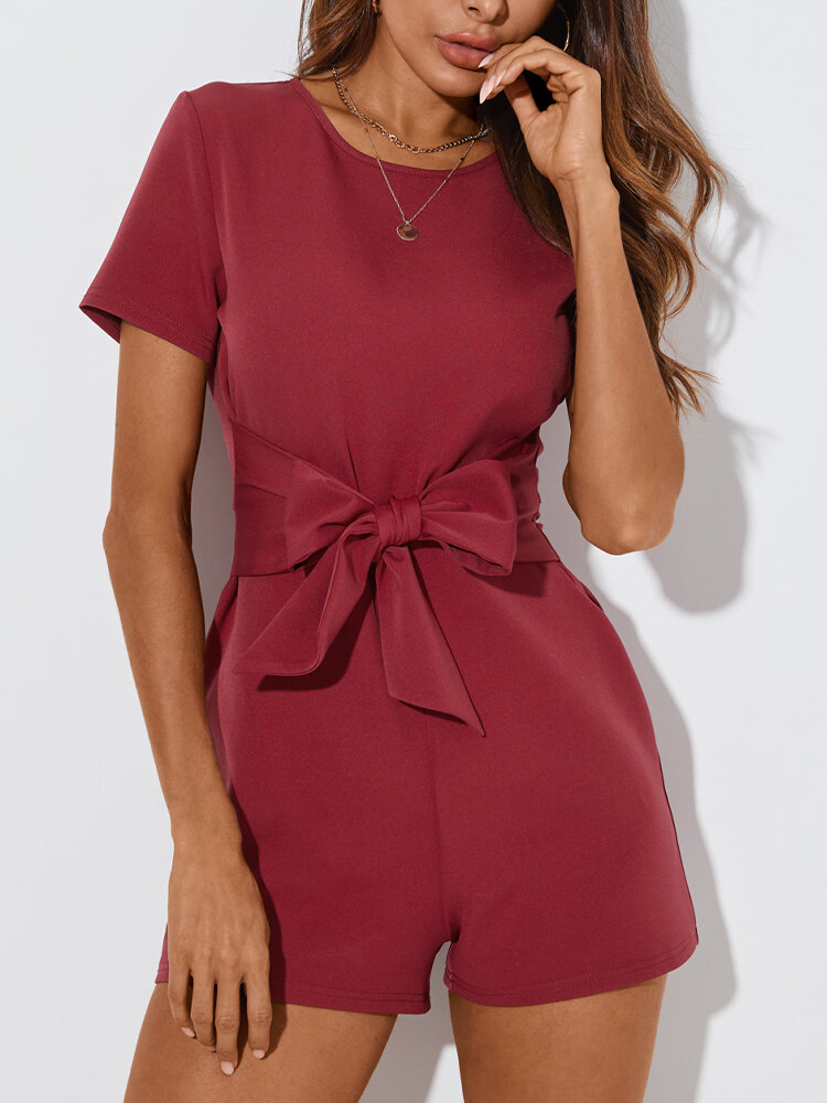 Solid Color Bowknot Short Sleeve Casual Romper for Women