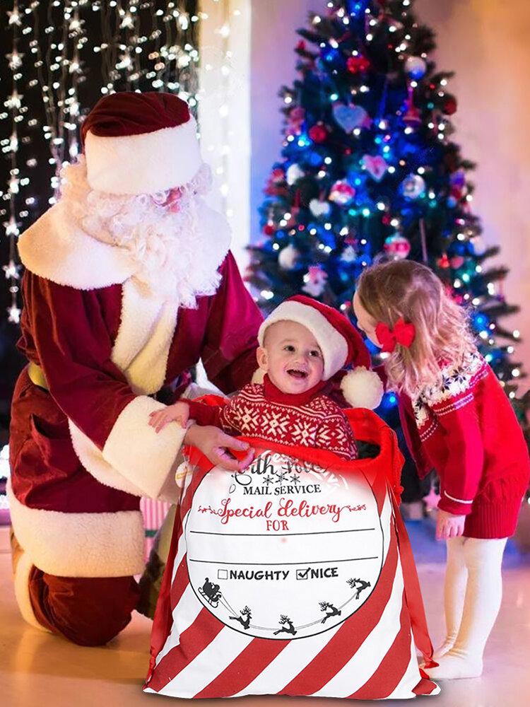 Christmas Gift Bag Cotton Canvas Drawstring Harness Pocket Storage Bag