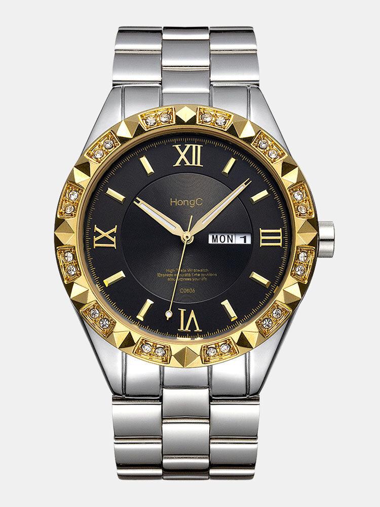 Large Dial Men Business Watch Steel Band Luminous Calendar Waterproof Quartz Watch