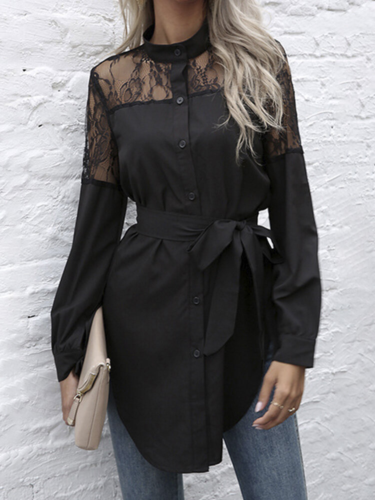 Solid Lace See-through Knotted Blouse Long Sleeve Shirt For Women