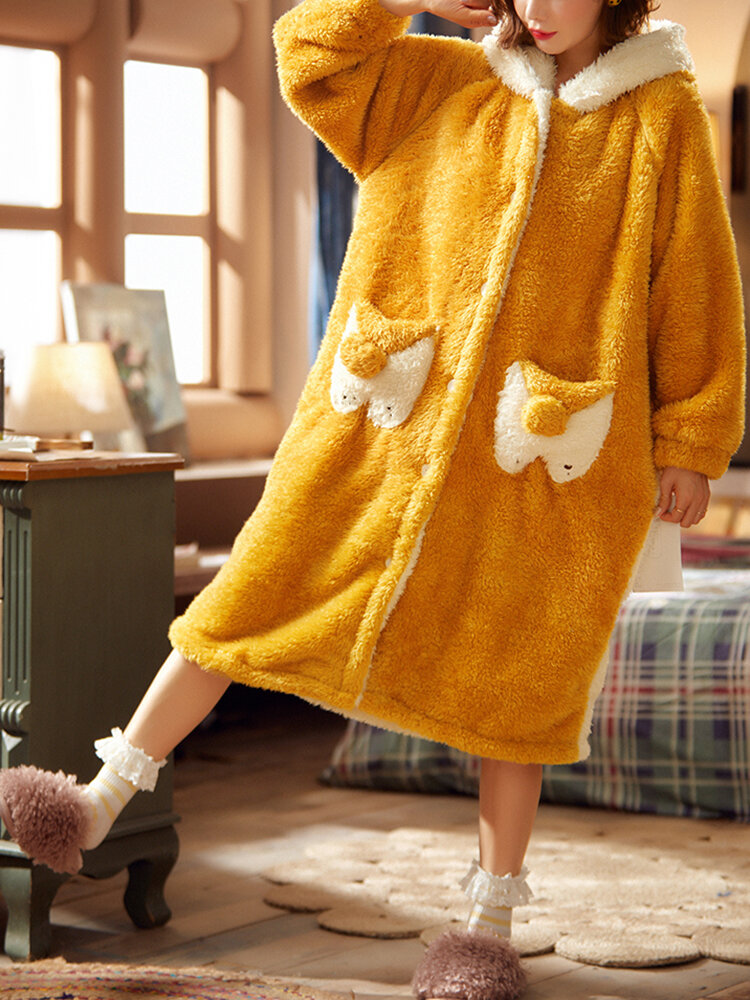 Women Cute Cartoon Squirrel Flannel Warm Home Thick Button Up Hooded Animal Robe