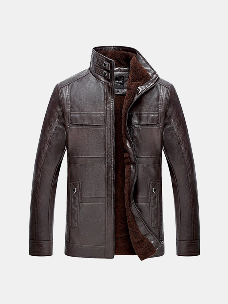 Casual_Business_ThickenInside_Extra_Fleece_Solid_Color_Stand_Collar_PU_Jacket_for_Men