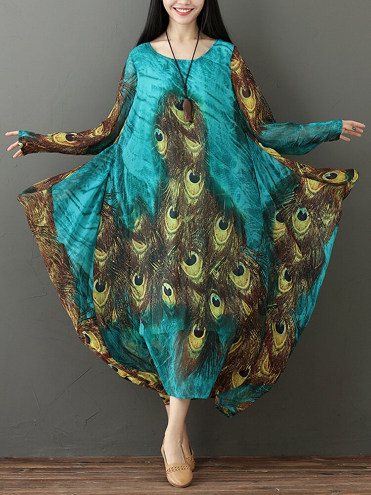077a14f60a Hot saleGracila Ethnic Peacock Feather Print Flowy Long Sleeve Women  Dresses Cheap - NewChic