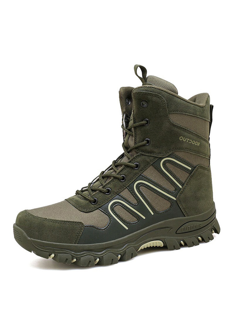 Men Outdoor Canvas Splicing Breathable Slip Resistant Combat Hiking Boots