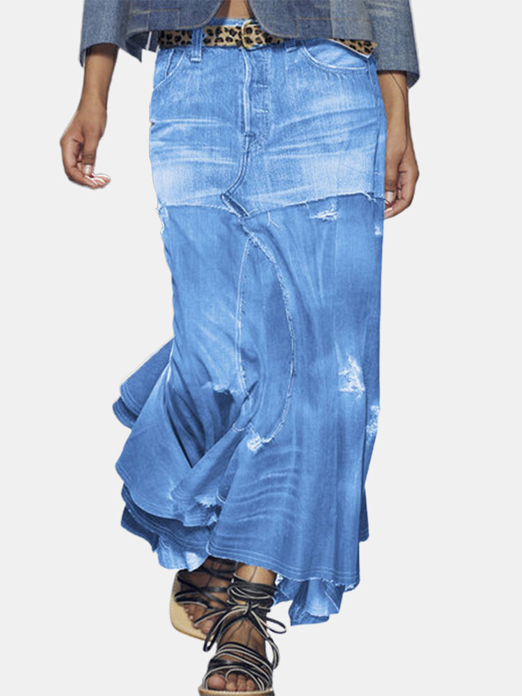 Solid Color Elastic Waist Ripped Asymmetrical Skirt For Women