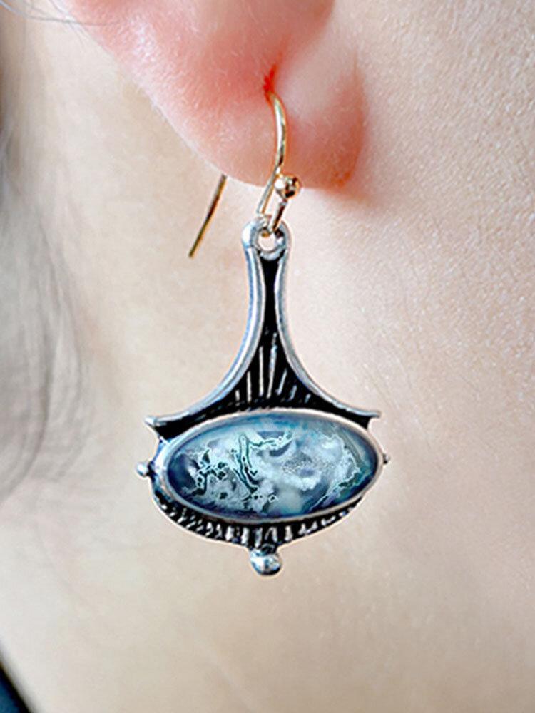 Vintage Drop-Shaped Women Earrings Colored Glass Chalcedony Pendant Earrings
