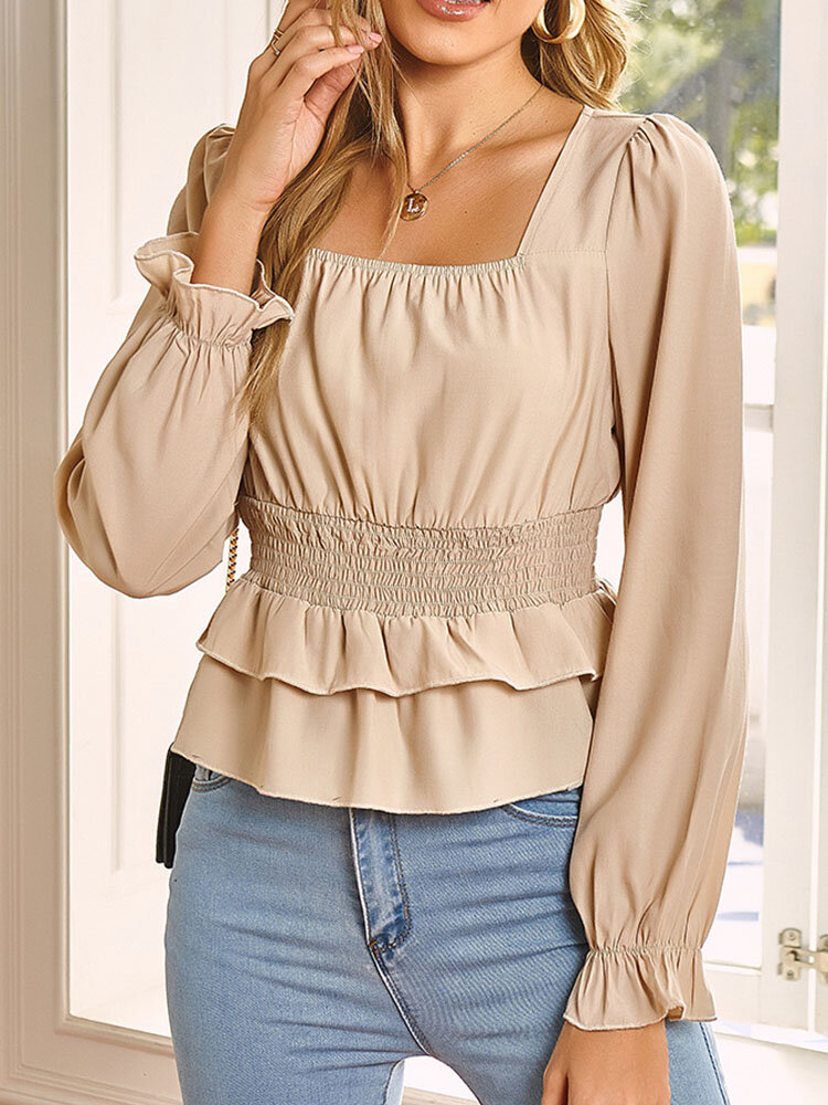 Solid Color Square Collar Long Sleeve Ruffle Elastic Waist Blouse