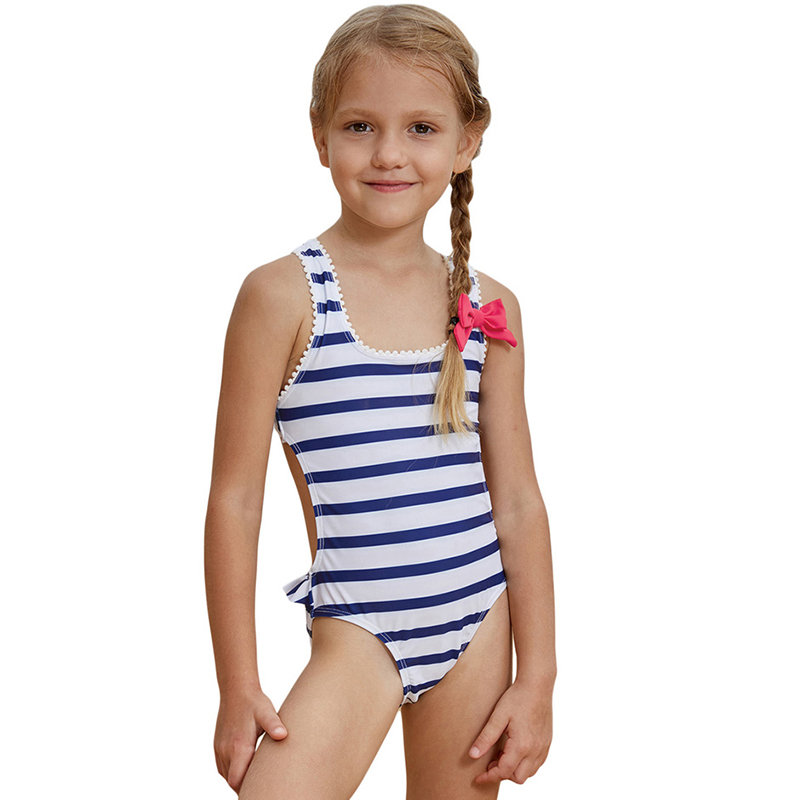 Striped Bow-Knot Swimwear For Girls 2-15Years