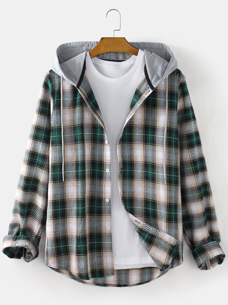 Mens Plaid Button Up Long Sleeve Relaxed Fit Drawstring Hooded Shirts