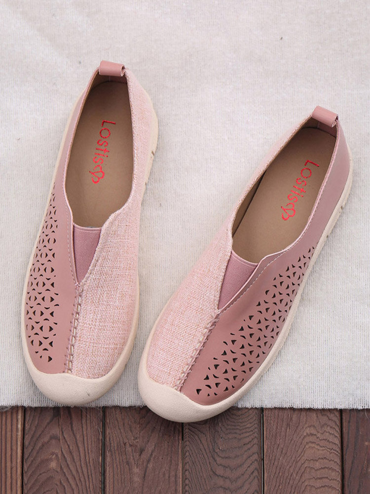 LOSTISY Women Splicing Comfy Hollow Breathable Casual Flats
