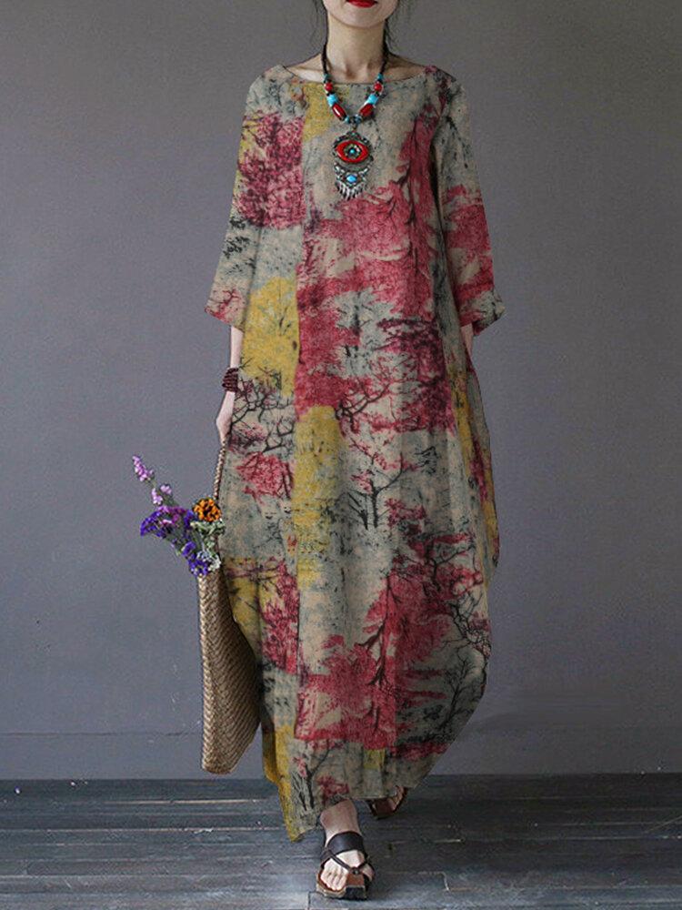 Printed O-neck Side Pockets Cotton 3/4 Sleeve Long Dress