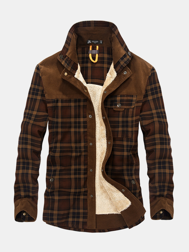 Plus Size Casual Plaid Inside Fleece Business Turn Down Collar Thick Jacket for Men